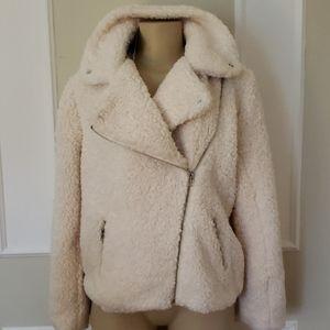 NWT Sherpa Shearling Faux Fur Moto Jacket